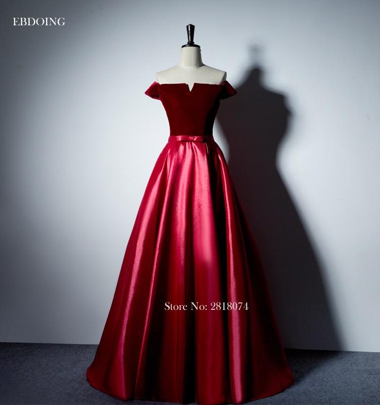 Stunning Red A-line Formal Dresses Boat neck Neckline Vestidos de festa Lace Up Off The Shoulder Evening Dresses With Sashes