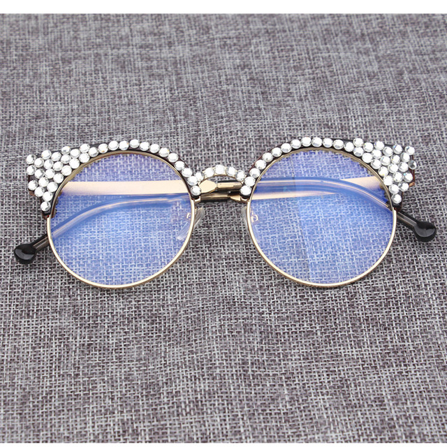 Diamond Cat Eye Glasses Frames clear lens Rhinestone decoration ...