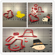 Cartoon Character Charlie Brown Pilgrim Custom Made 3D Printed Fondant Cupcake Decorating Tools Cookie Cutter Set