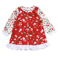 Christmas Baby Girls Dress Full Sleeve Dress O-neck Baby Clothes Cotton Kids Dress Children Clothing