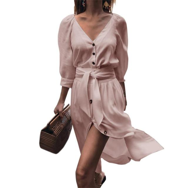 MISS M 2018 Autumn Women Fashion Stand 3/4 Sleeves Dress Elegant Loose Belt Casual Shirt Dresses Ladies Plaid Vestidos Pink