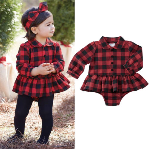 Pudcoco Newborn Baby Girl Plaid Cotton   Romper   infant Girls Long sleeves Ruffles Jumpsuit Tops Outfits 0-24M
