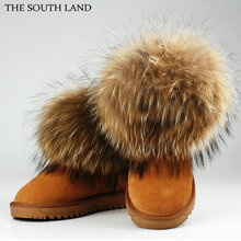 THE SOUTH LAND 100 Cowhide Leather Raccoon Fur Boot Woman snow boots winter Leather fox fur