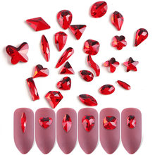 10 pièces/ensemble rouge ongles strass 3D breloque cristaux gemmes Triangle ovale conceptions or plat dos bijoux ongles Art décorations TR930(China)