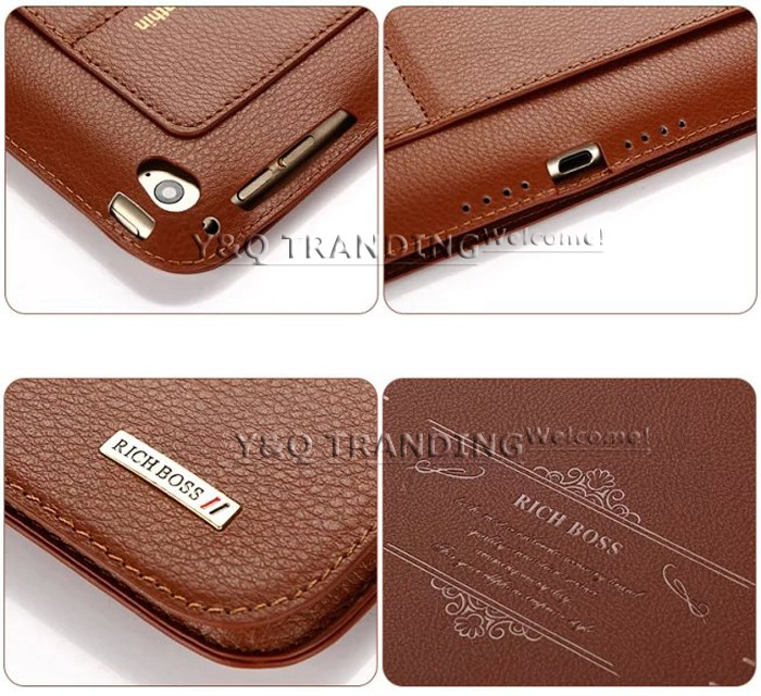 Ultrathin Cowhide Genuine Leather Case for Apple iPad Real Leather Business Stand Smart Cover for iPad  (10)