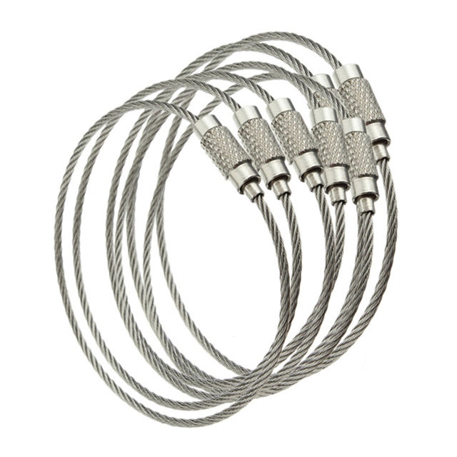10PCS Stainless Steel Wire Keychain Cable Rope Key Holder Keyring Key Chain  Rings Women Men Jewelry 2425ff32a