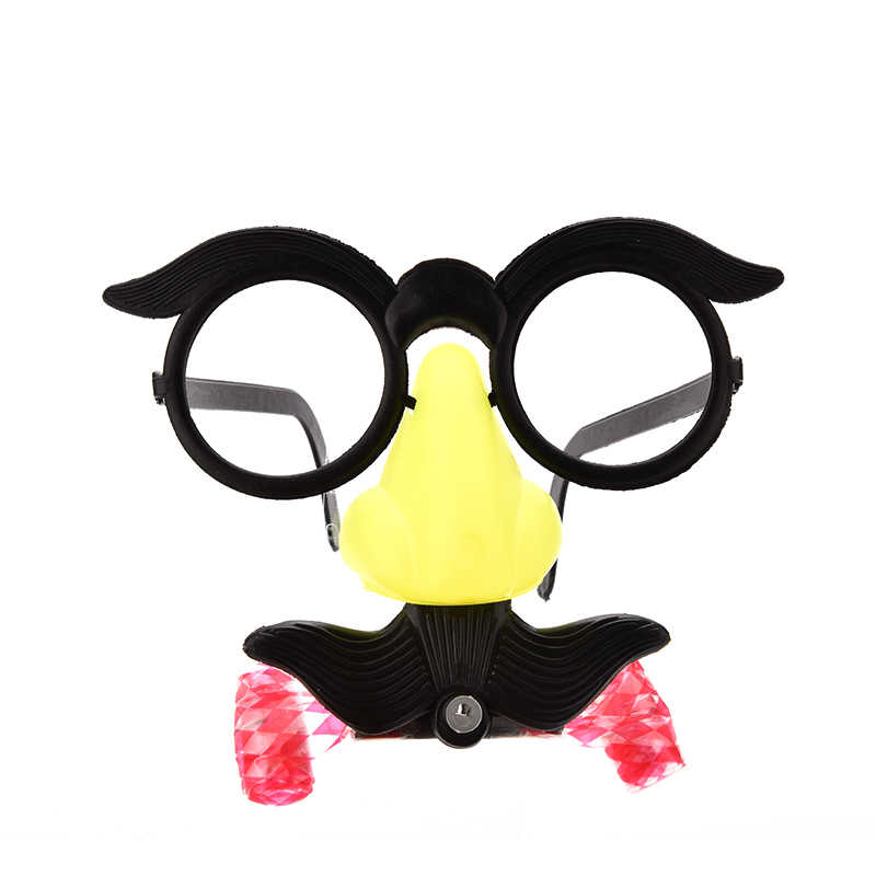 6d2361386a9 Humor Toy Funny Clown Glasses Costume Ball Round Frame Red Nose Whistle  Mustache False Nose Hair
