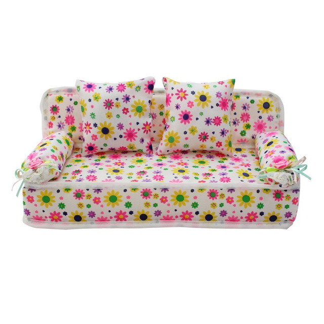 Rosana Mini Dollhouse Furniture Flower Cloth Sofa Couch With 2 Cushions for Barbie Doll House Decoration Toy Girl Birthday Gift