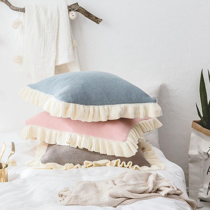 Le nouveau coton couvre la couverture d'oreiller tricotée nordique canapé loisirs oreiller créatif maison lit coussin couvre sans noyau
