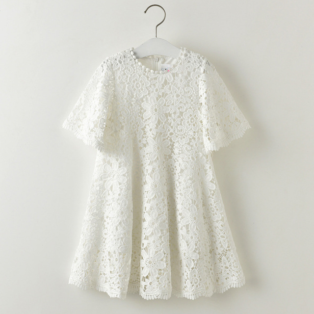 312901a2a Everweekend Girls Floral Embroidered Lace Dress Bell Sleeve Princess White  Summer Dress Ruffles Party Dress