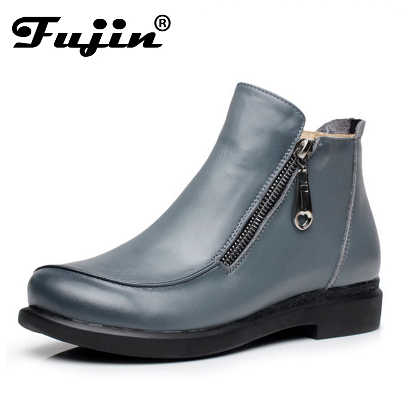 ФОТО 2017 New Autumn lady Winter Short Flat Heels Shoes Genuine Leather Boots Side Zipper Women Ankle Boots Plus Size 41-43 for femal