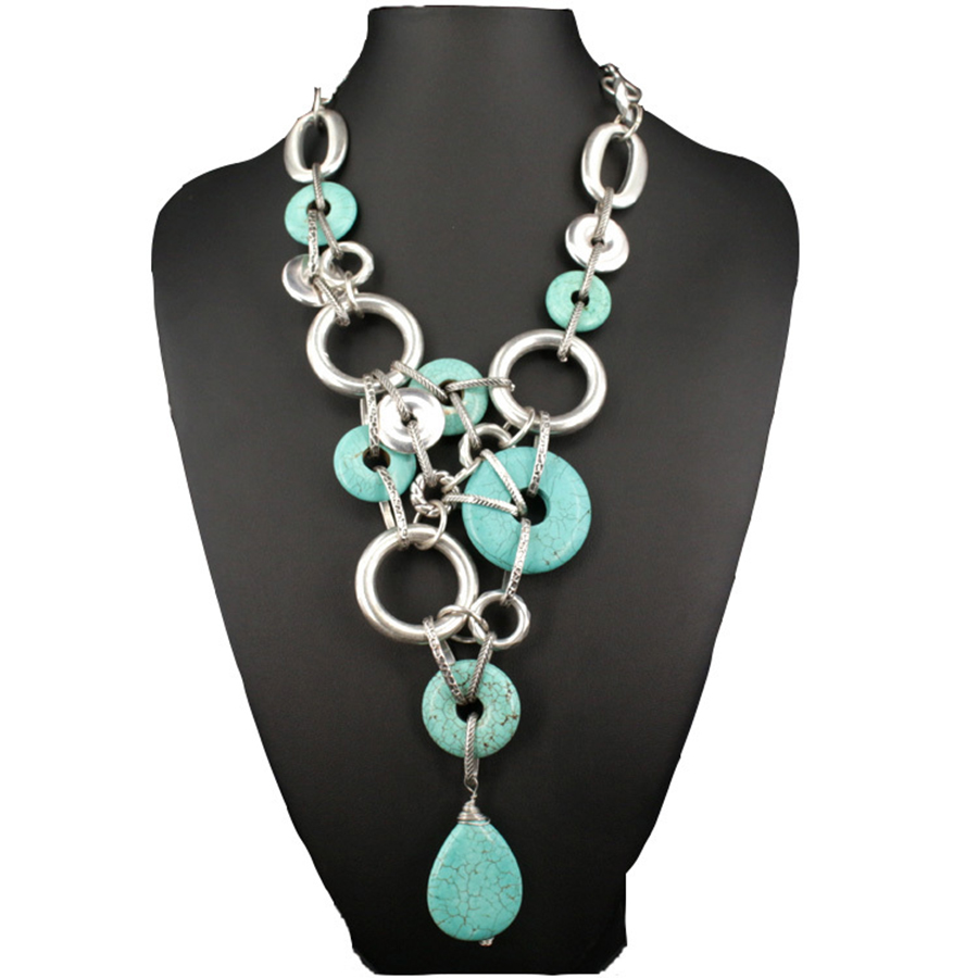 Bohemian Style Multi Vintage Silver Circle Necklace Artificial Stone Imitationturquoise Necklace