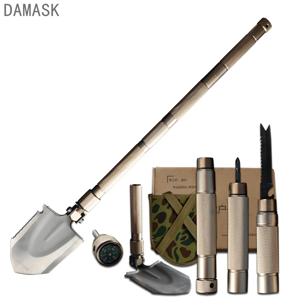 Damask Military Folding Shovel Multifunction Outdoor Survival Equipment Camping Hunting Fighting Portable Spade Outdoor Tools outdoor multifunction shovel folding camping survival military spade trowel