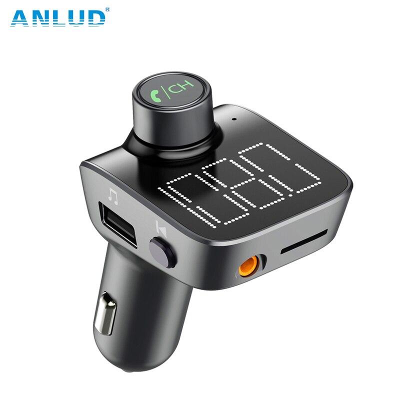 ANLUD Bluetooth 5.0 FM Transmitter Wireless Bluetooth Car Kit Car MP3 Player Unique Display Screen Aux Modulator Handfree