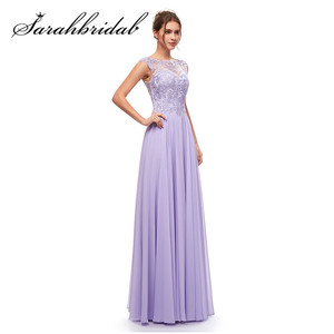 Image 3 - Haft elegancka, długa suknie wieczorowe zroszony linia O Neck Illusion suknia na graduation data formalna Prom Vestidos CC5311