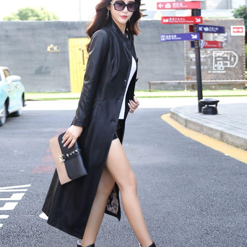 Plus Veste Nouveau Cotton Automne Style Black Longue De Hiver Taille gray 2018 Mode La Manteau Cuir Cotton En Femelle Solide Faux bigred Couleur Nzyd491 Femmes black Mince bigred wxZqw4YCO