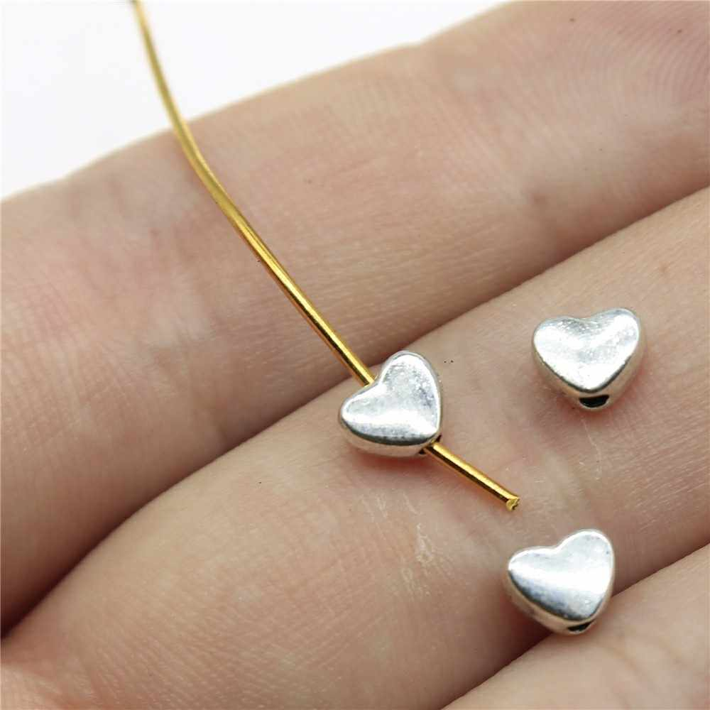 100pcs/lot Antique Silver Tone 0.2x0.2 inch (6x5mm) Pursuit Heart Small Hole Beads Jewelry Findings For Jewelry Making