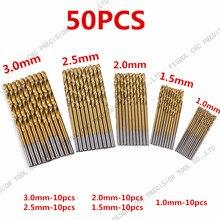 Juego de puntas de taladro en espiral, juego de 50 unidades de brocas recubiertas de titanio de acero alto HSS, herramienta de madera para carpintería de 1/1, 5, 2/2, 5 y 3mm para Metal