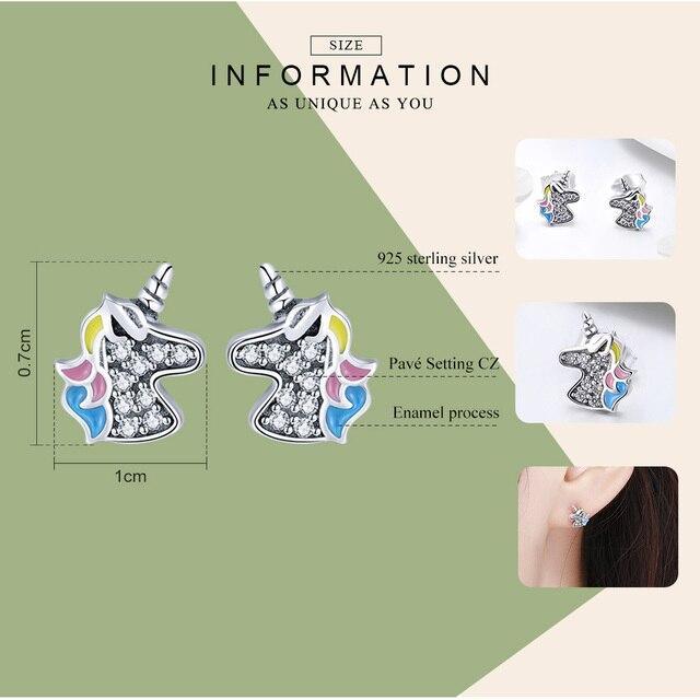 bamoer 925 Sterling Silver Dazzling Licorne Memory Stud Earrings Silver for Women & Girls Sterling-Silver-Jewelry SCE426 5