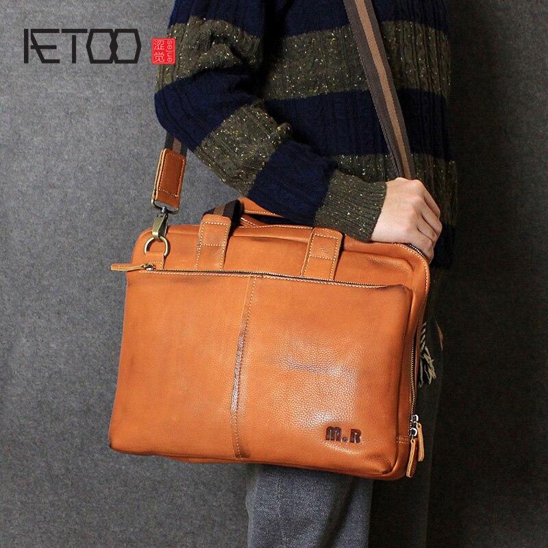 AETOO Handmade original leather men bag cross section handbag head layer leather shoulder large Messenger computer bag men
