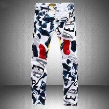 35cf479276 Hombre Pantalones de impresión nuevo famoso hombre Casual pantalones de  moda 3D pintado vaqueros ajustados blancos de algodón pa.