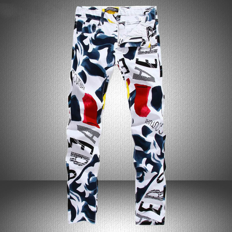 Mens Print Pants New Famous Man Casual Pants Fashion 3D Painted   Jeans   White Skinny Cotton Trousers Biker   Jeans   Streetwear