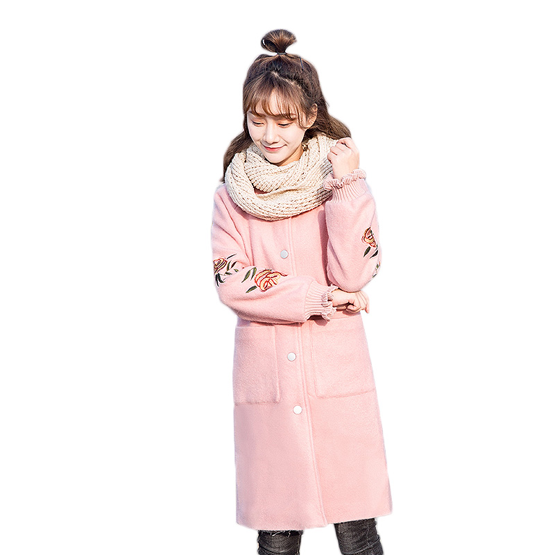 Hippocampus woolen coat female 2018 spring womens slim was thin woolen coat long fashion embroidery woolen coat for women