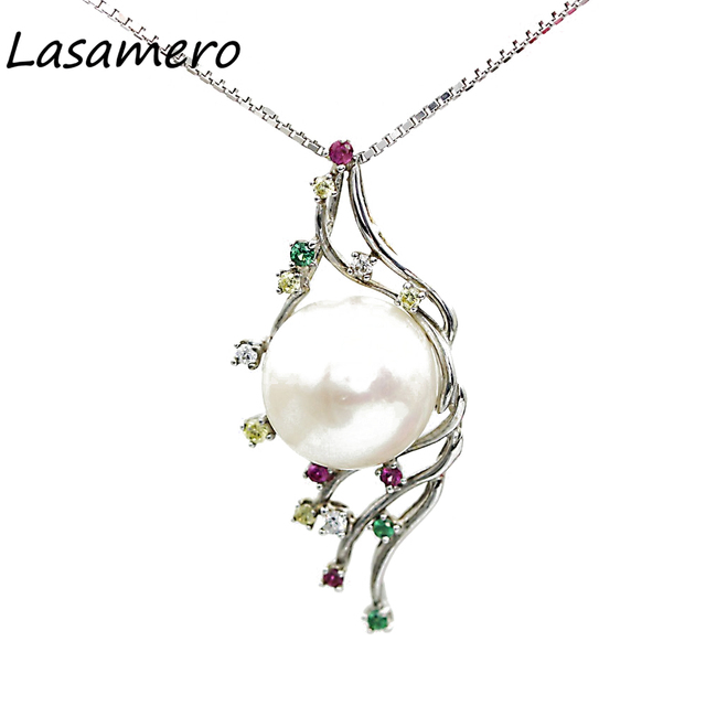LASAMERO Round Natural Fresh Water Pearl 10mm Modern Style 925 Sterling Silver Pendant Necklace Fine Jewelry