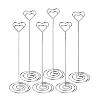 8.6 بوصة طولا HOT-10pcs حاملي بطاقة مكان القلب شكل الجدول رقم حامل تقف صورة صورة مذكرة كليب لل زفاف