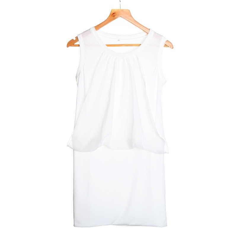 Модное Новое повседневное женское летнее шифоновое платье с круглым вырезом без рукавов сарафан-туника однотонное тонкое сексуальное мини-платье Vestido Mujer Elbise