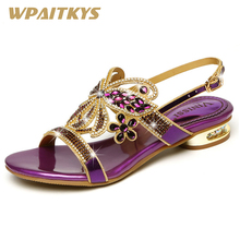 Exquisite Crystal High-heeled Shoes Woman Fashion Purple Blue Golden Three Colors Rhinestone Decoration Leather Women