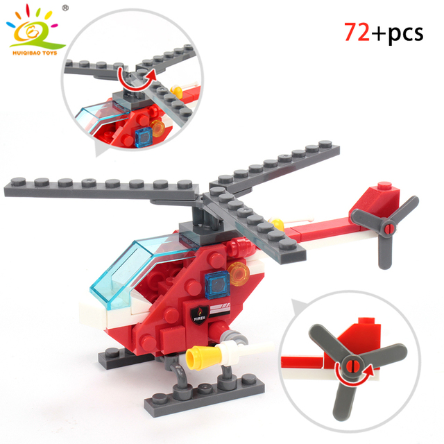 348pcs Fire Fighting 4in1 Trucks Car Helicopter Boat Building Blocks Compatible city Firefighter figures children Toys