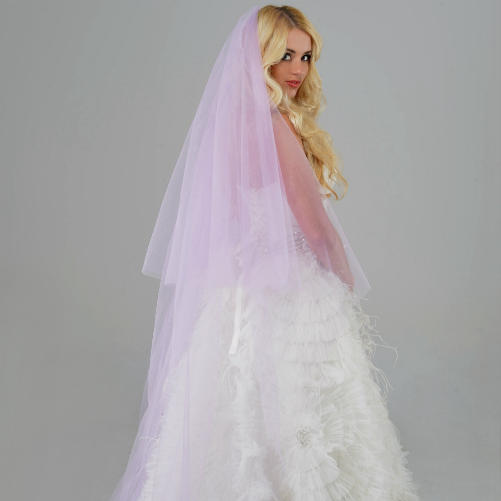 Purple Wedding Veils With Blusher Soft Tulle Metal Comb 98 Inch Long Custom Color Length Bridal New 2017 For Brides In From