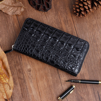 TOP Real Handmade Crocodile Skin Men Long Zipper Wallets Luxury Fashion Design Brand High Quality Crocodile Grain Man Must Purse