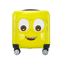 Traveling luggage bags with wheels Minions children draw bar box cartoon 3D 18 inch Spinner hard case suitcase carry on luggage