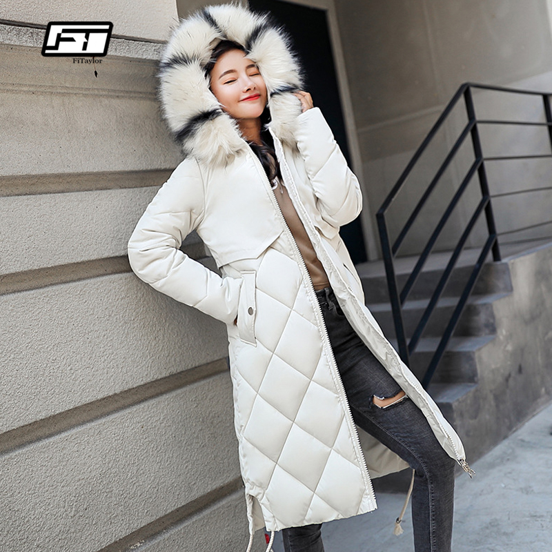 Fitaylor Women Long Cotton   Parkas   Winter Hooded Large Fur Collar Casual Padded Warm Jackets Coat Female Thick Snow Overcoat
