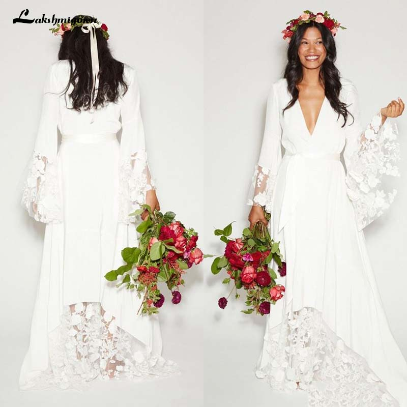 US $149.52 11% OFF|Simple Bohemian Long Sleeves Deep V Neck Hippie Beach  Wedding Gown Plus Size Wedding Dresses-in Wedding Dresses from Weddings &  ...
