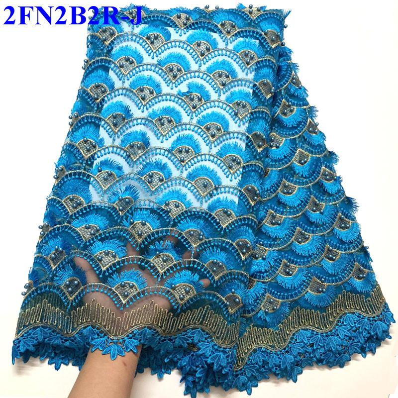 Nigerian Tulle Lace Fabrics 2018 Blue color African Organza Lace Fabric High Quality French Mesh Lace