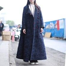 LZJN 2017 Winter Jacket Women Trench Coat Thin Quilted Chinese Style Jacquard Autumn Coat Pocket Kaban Winterjas Jaqueta PX7042