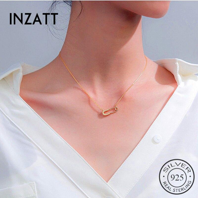 INZATT Real 925 Sterling Silver Minimalist Zircon Paperclip Pendant Necklace For Fashion Women Party Trendy Fine Jewelry 2019