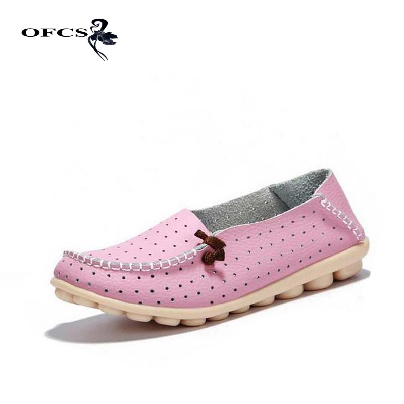 women flats shoes Real leather summer female casual flat shoes women loafers shoes slips soft leather red flat women's shoes