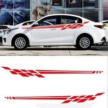 2 adet araba Sticker 310*31cm çizgili yan şerit vücut Sticker çiçek geliyor Transfer filmi ile araba malzemeleri
