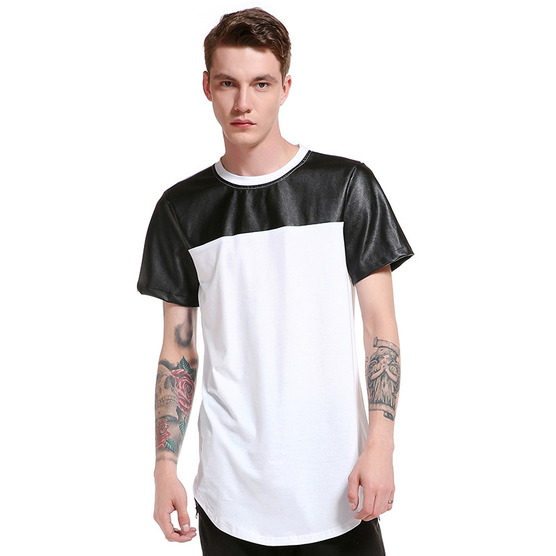 JCCHENFS 2018 Hip Hop Rap Fashion T Shirt Leather Patchwork Black White Short Sleeve Mens T-Shirt Brand Casual T Shirt For Men