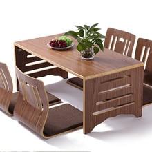 5 шт./компл. современных японских Стиль обеденный стол и стул Азиатский пол одноцветные с низкими голенищами ножки деревянного стола складной Обеденная комплект Zaisu Стул