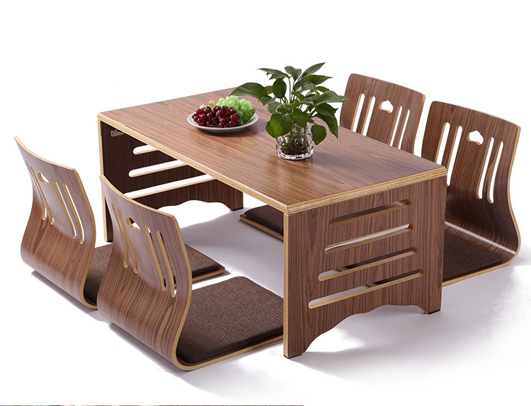 Modern Japanese Style Dining Table and Chair Asian Floor Low Solid Wood Table Legs Foldable Dining Room Set 4pcs Zaisu Chair slipper
