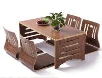 5 шт./компл. Современный японский стиль обеденный стол и стул Азиатский пол низкий твердый ножки деревянного стола складной набор столовой с