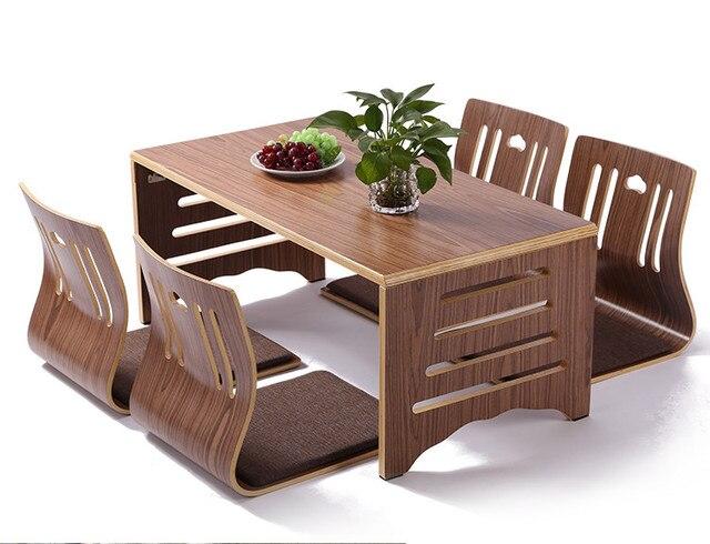 301 91 5 De Reduction 5 Pieces Ensemble Moderne Style Japonais Table A Manger Et Chaise Plancher Asiatique Bas En Bois Massif Table Jambes
