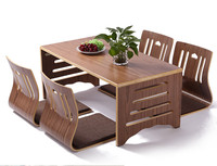 5pcs/set Modern Japanese Style Dining Table and Chair Asian Floor Low Solid Wood Table Legs Foldable Dining Room Set Zaisu Chair