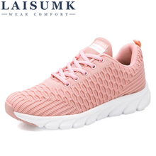 LAISUMK Casual Breathable Lace up Wedges Shoes Woman Lightweigh Cushion Non-slip Soft Loafers Couple Sneakers