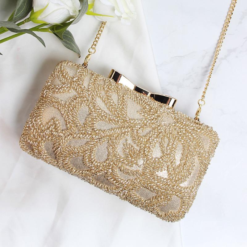 Фотография Custom lady bag 2017 new fashion woman hand beaded handbag golden bow hand bag ladies banquet